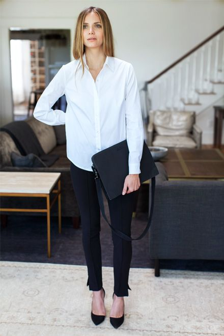 loose crisp white buttondown, black cigarette pants, black leather single sole pumps