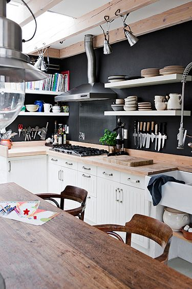 I like the idea of shelves instead of cupboards.  I suppose all my stuff should match then...or at least be put away in a decent manner