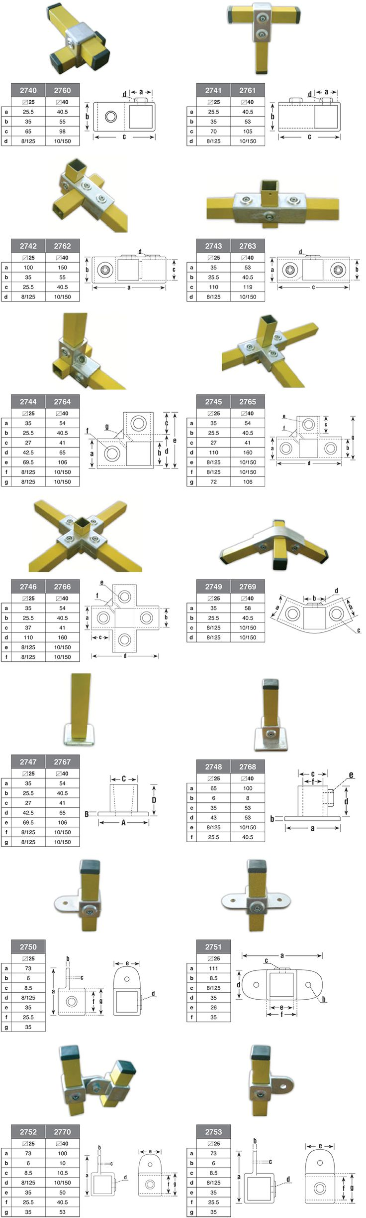 Square Tube Connectors Metal Flexliner Tube Connectors
