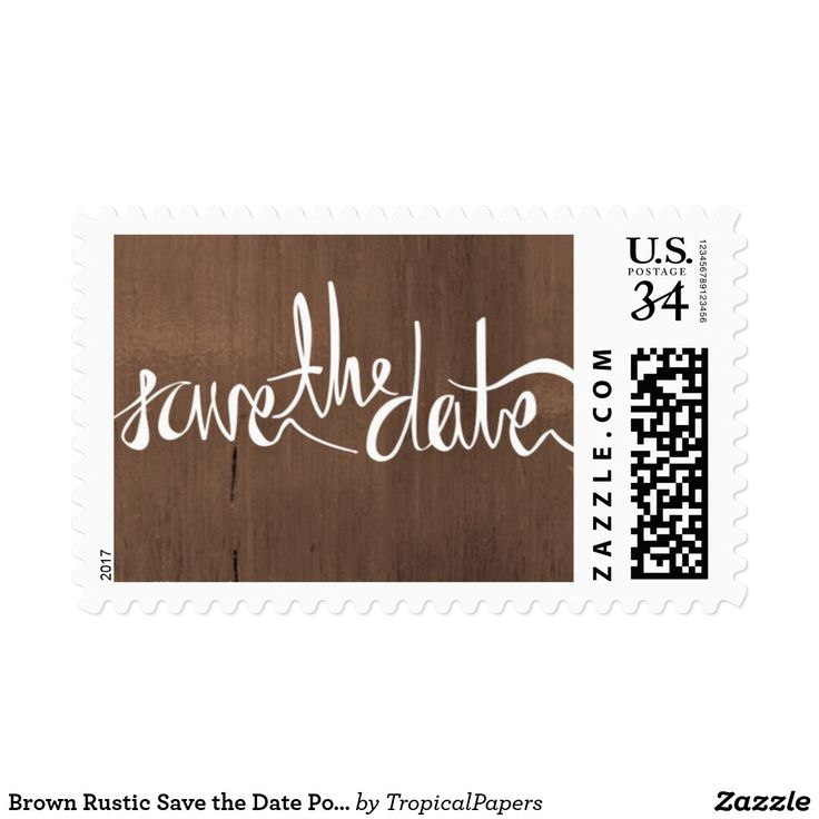 Brown Rustic Save the Date Postcard Postage