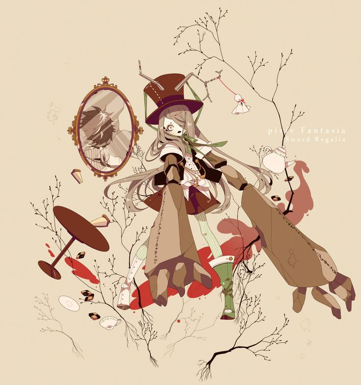 Shikimi, Top Hat, Asymmetrical Footwear, Cup, Tea Pot, Mirror