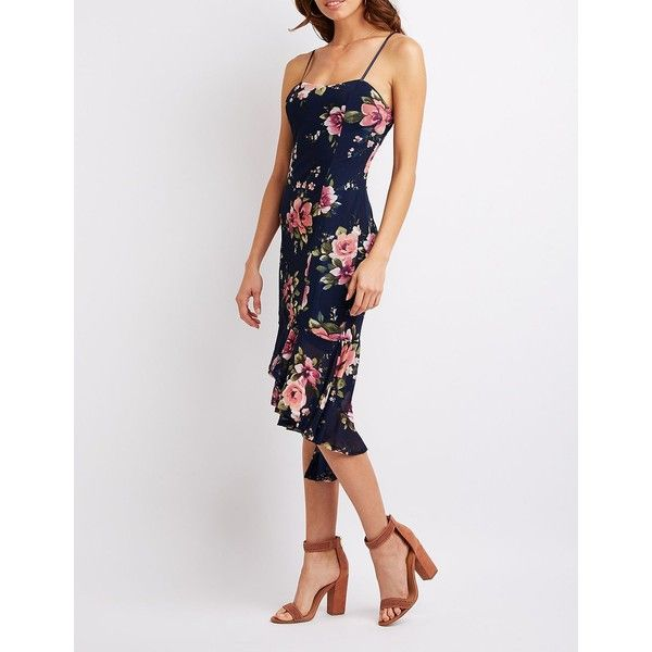 Charlotte Russe Floral Mesh Bodycon Dress ($20) ❤ liked on Polyvore featuring dresses, multi, midi bodycon dress, body con dress, hi lo dresses, floral bodycon dress and floral high low dress