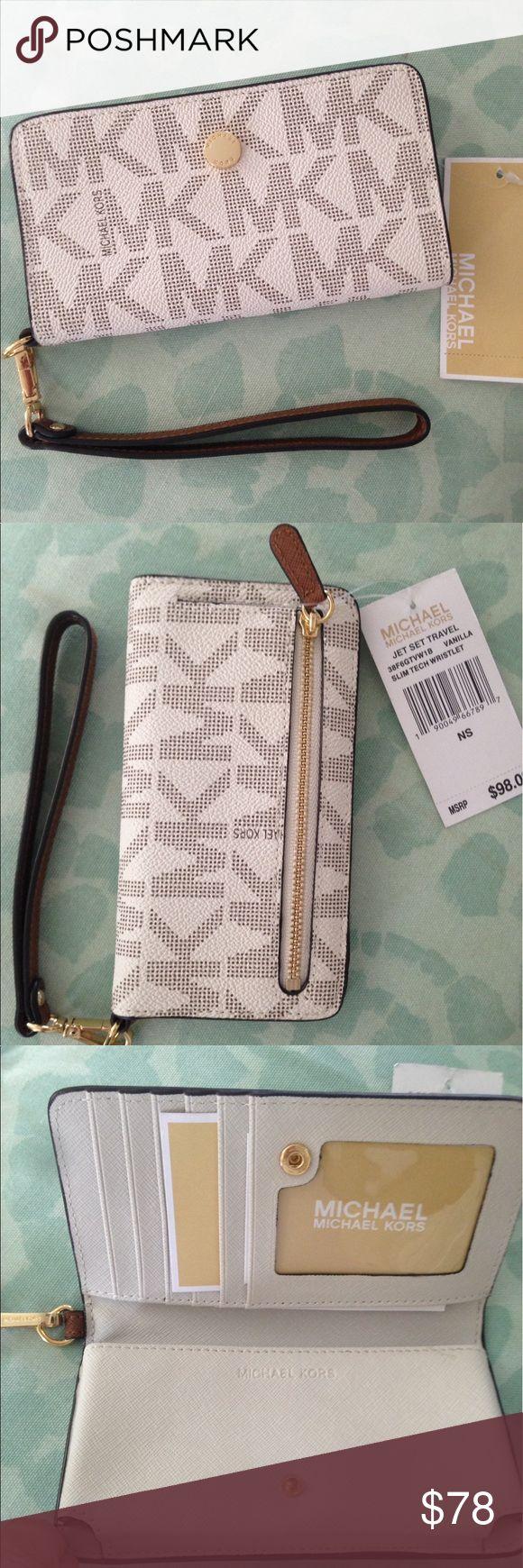 Women wristlet Jet set travel slim tech wristlet (vanilla color) Michael Kors Bags Clutches & Wristlets