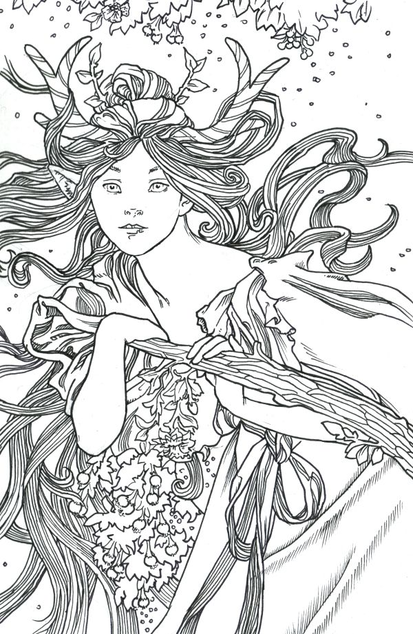 Elegant Alphonse Mucha Coloring Pages