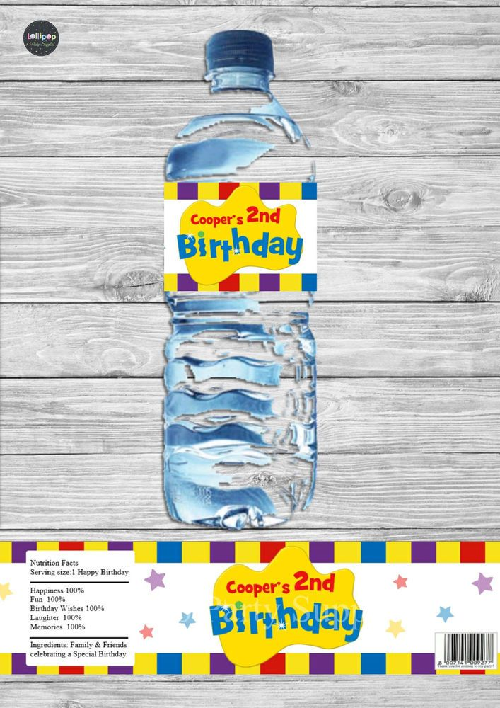 8x THE WIGGLES PEEL AND STICK WATER BOTTLE LABELS STICKERS BIRTHDAY PARTY CUSTOM #Personalisedwaterbottlelabels #BirthdayParty