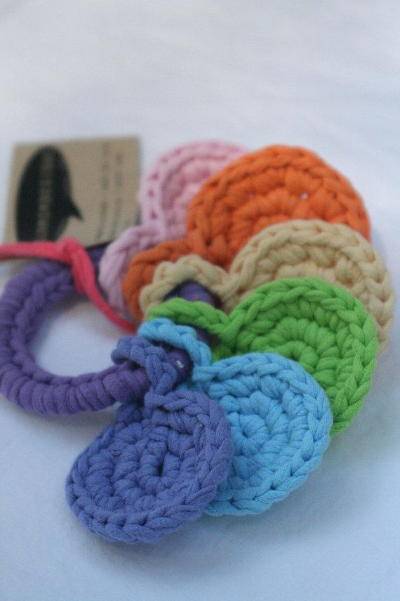 Crocheted key ring toy for baby made from t-shirt yarn