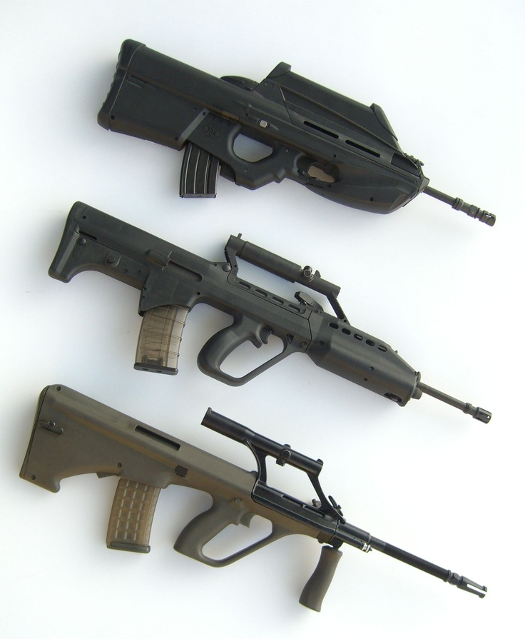 Modern Bullpups - from top to bottom: FN2000, SAR-21, Steyr AUG