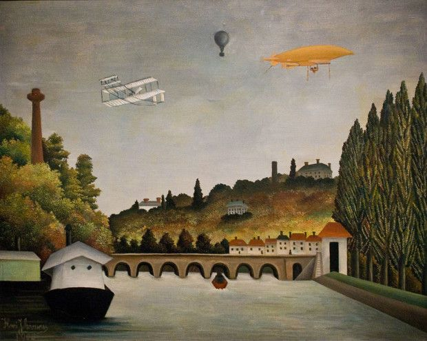 Henri Rousseau, View of the Pont Sèvres and the Hills of Clamart, Saint Cloud, and Bellevue with Biplane, Balloon, and Dirigible, 1908, Pushkin Museum, Moscow