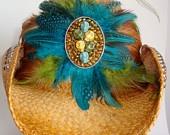 Handmade 6 Skulls and Feather Custom Cowboy Hat (Team Dive/Diva Amy)
