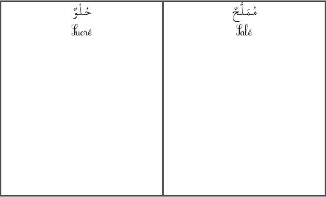 Le tri Montessori en arabe... le sens du gout sucré salé