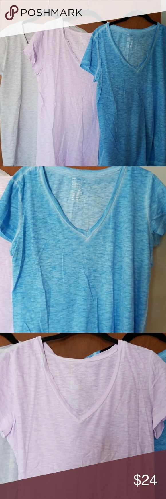 Bundle of 3 Gap Tshirts GAP essential t-shirts in aqua, light Gray and light purple. Great condition. Price is for all 3 GAP Tops Tees - Short Sleeve