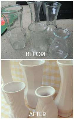 Home Made Modern: Faux Milk Glass Fabulous idea for all those cheap vases that bouquets come in!