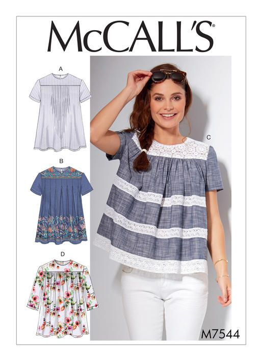 McCall's tops sewing pattern. M7544 Misses' Pleated or Gathered Tops with Yokes
