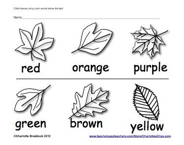 Color Words - Fall Leaves Coloring Worksheet