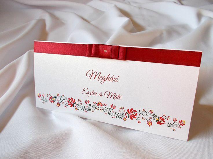 kalocsai mintás esküvői meghívó 03.2