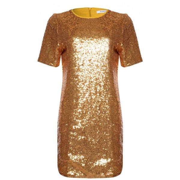 Sequin T-Shirt Dress by Glamorous (874.570 IDR) ❤ liked on Polyvore featuring dresses, gold, brown t shirt dress, brown sequin dress, sequin embellished dress, oversized tee dress and oversized t shirt dress