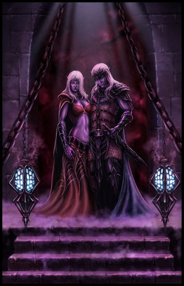 drow couple by  johndotegowski on deviantart