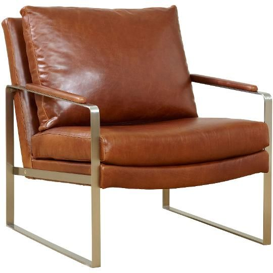 Outback 28 Inch Brown Leather Accent Chair Maine Den In