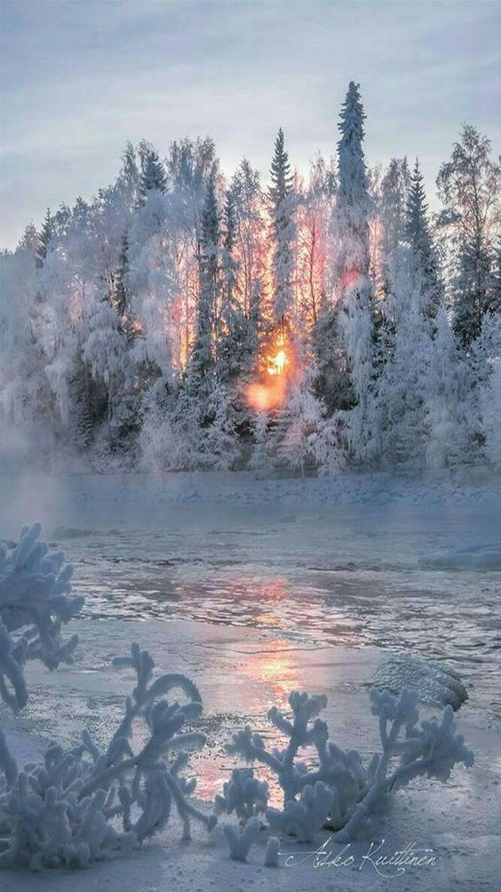 Winter Wonderland in Finland  #snow sunset lake ice #by Asko Kuittinen https://www.pinterest.com/pin/263179171954218451/