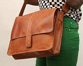 Messenger bag for Mens Women Unisex Brown Leather by abizema