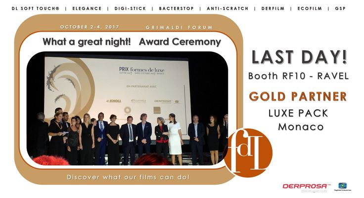 What a great Award Ceremony at the Prix Formes de Luxe last night! Today is the last day at LUXE PACK Monaco! Another chance to meet Derprosa™–Ti to learn more about our latest innovations. Booth RF10 – Ravel #graphicarts #luxury #packaging #awards #ceremony #PrixFDL #LuxePack_show The Grimaldi Forum Monaco