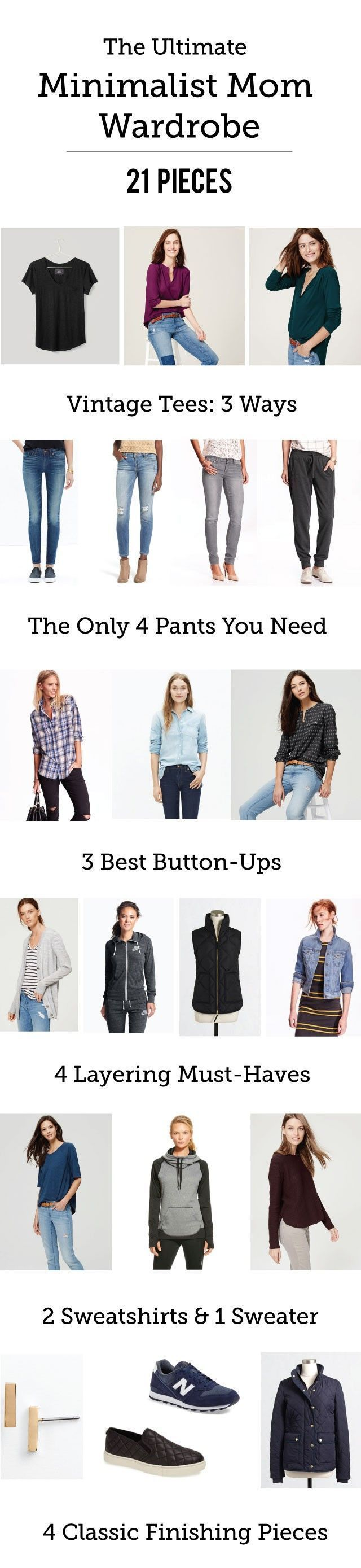 21 Piece Minimalist Mom Wardrobe: The ultimate capsule wardrobe for minimalist moms with a classic, laid back style... Almost this whole list is on sale right now- time to do some shopping!