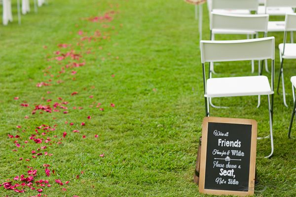 Pick a side wedding chalk board sign for ceremony styling. Photography by The Arched Window, Mount Tamborine.