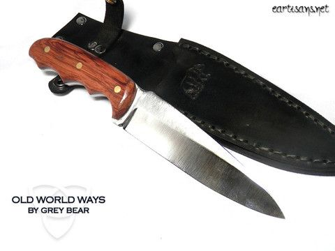 Hand crafted bubinga wood athame/boline/utility knife, hand forged by Grey Bear. Comes with matching hand sewn, leather sheath. Total Length-9 inches. #athame #boline #wicca #wiccan #pagan #witchcraft #ritualtools #ritualsupplies #wiccansupplies #paganathame