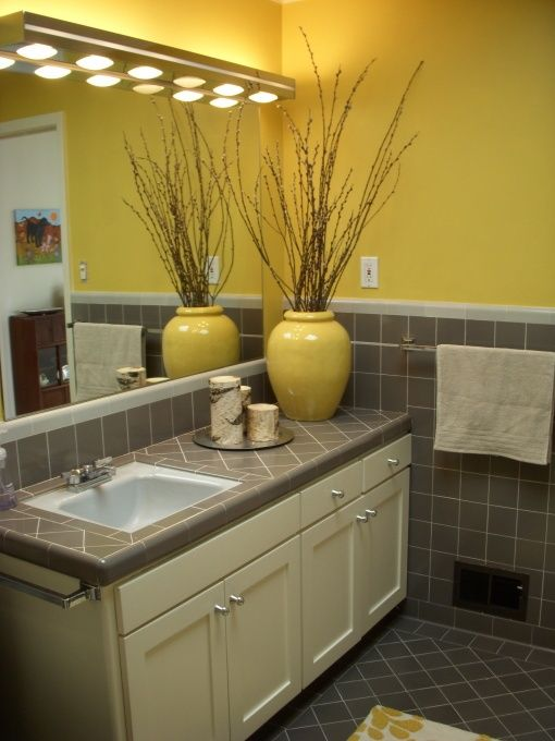 mid century yellow and gray bathroom home pinterest. Black Bedroom Furniture Sets. Home Design Ideas