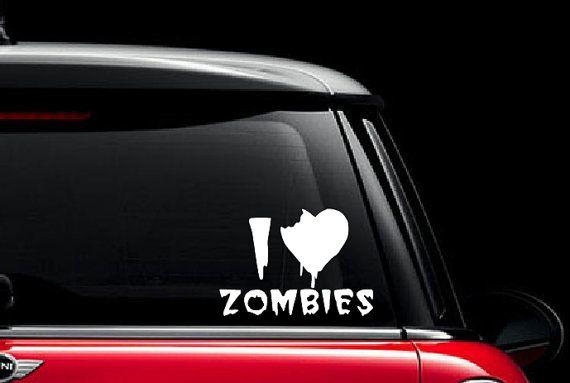 I heart zombies vinyl decal i heart zombies car decal zombie vinyl decal zombie sticker custom vinyl art custom vinyl decals