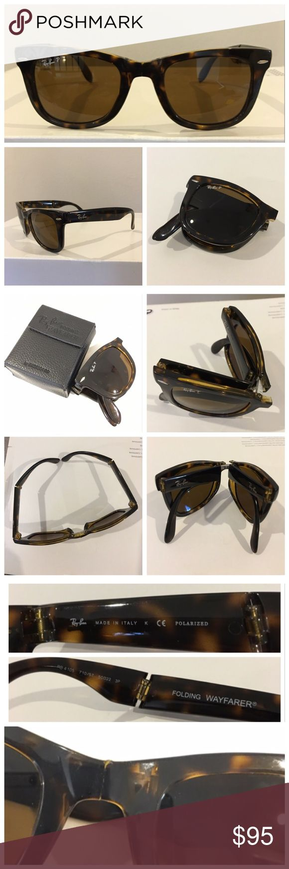 Authentic folding RAY BAN Wayfarer sunglasses Authentic folding RAY BAN Wayfarer sunglasses in brown tortoise shell color.  In excellent condition except for noted chip on front bridge where glasses fold in half  (see photo, hardly noticeable in person), very slight wear on arms. Lens inscribed with Ray-Ban P and etched with signature RB. Made in Italy, model RB 4105 size 50. Comes with case, slightly worn. Pls ask any questions you may have before purchasing and pls acknowledge exception as…