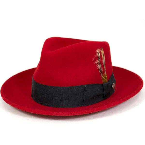 Bailey Hat Red BAILEY HAT FEDORA RED #HA [turu felt Hat felt 7002... ($149) ❤ liked on Polyvore featuring men's fashion, men's accessories, men's hats, mens hats fedora, mens fedora, mens felt fedora and mens felt hats