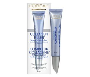 Seriously, I would pay at least $50.00 for this!  Why because it works!  It is only around $28.00 but you can get it on sale for $21.00 at Shoppers Drug Mart.  The collagen filler will temporarily smooth out your frown lines as well as the small lines around your mouth.  TIP: Just gently pat it on (don't rub it in).