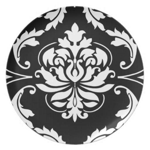 Diamond Damask in White on Black Dinner Plates