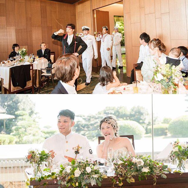 ༶༶༶ _wedding report 38_ 笑いまくりの余興🗯 ・ 新郎側はラッパ隊📯 顔に落書き、指揮棒は木の枝、おもちゃのラッパ、なんでもアリで大いに盛り上げてくれました♩ にしてもほんとにどの場面も大口開けて笑ってる自分が残念すぎる…😂 ・ photo by adore studio ・ #yuw_havin1015 #結婚式 #披露宴 #余興 #bigday #卒花 #カラードレス #ジェームス邸 #ノバレーゼ #adorestudio #ヘッドドレス #ブライダルアクセサリー #ブートニア #akariH #秋婚 #2016wedding #marry花嫁 #ウェディングニュース公式ミューズ