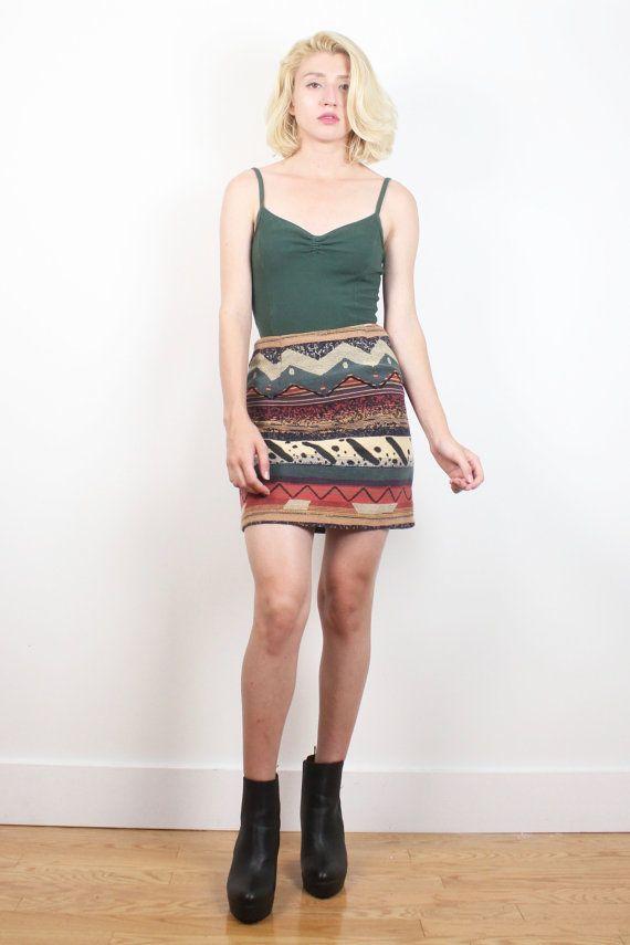 Vintage 90s Mini Skirt Soft Grunge Southwestern Striped Tapestry Print Tulip Skirt 1990s High Waisted Boho Textured Knit Skirt XS S Small #1990s #90s #soft #grunge #south #western #southwestern #tapestry #mini #skirt #boho #festival #tapestry #etsy #vintage