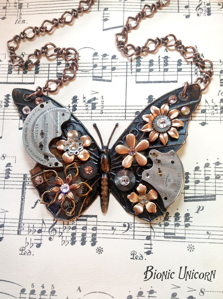 steampunk butterfly | Steampunk Butterfly Necklace - Antiqued Steampunk Butterfly with Rose ...