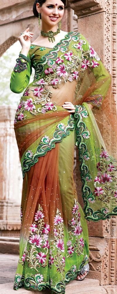 $130.73  Green Net Saree 18362 With Unstitched Blouse