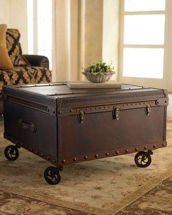 Trunk Coffee Table With Vintage Castor Wheels