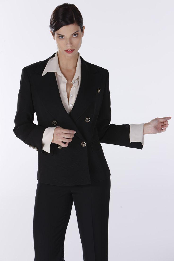 Black business suit.