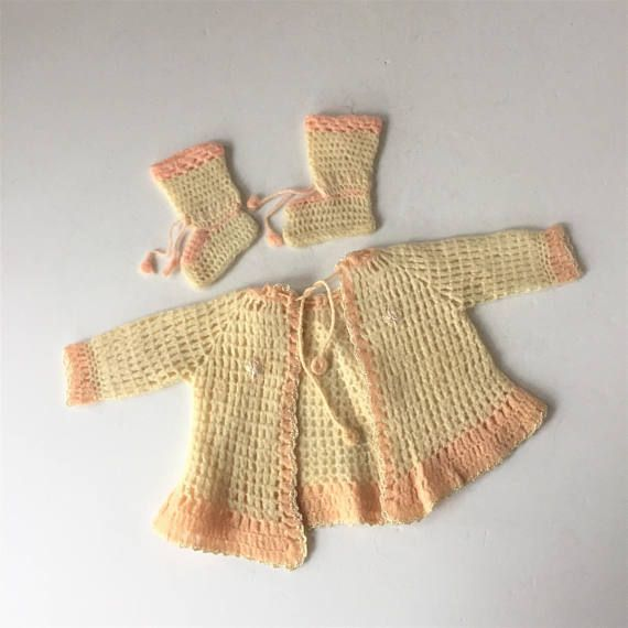 1940s Baby Clothes Baby Girl Sweater and Booties Vintage #babygirlsweaters