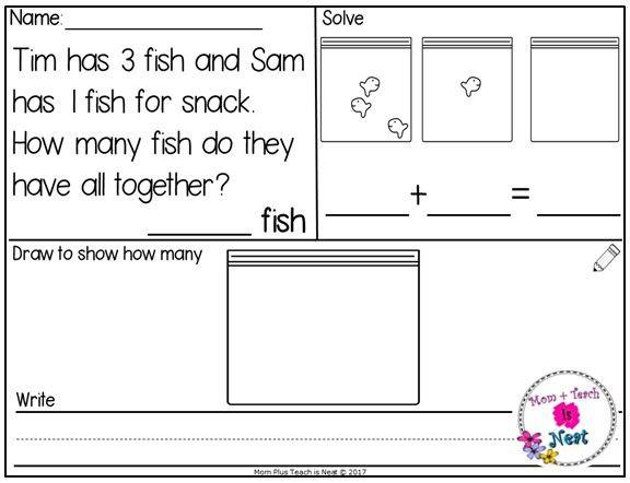 Kindergarten Math Centers Addition Word Problems Within 10 Fish Addition Math Centers Kindergarten Addition Word Problems Word Problems