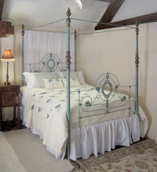 king size cast iron four poster bed antique