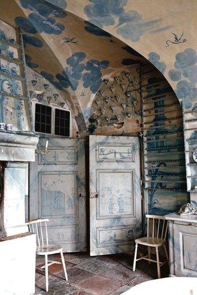 "Corner of Sweden's famous ""porcelain kitchen"" at Tureholms Slott."