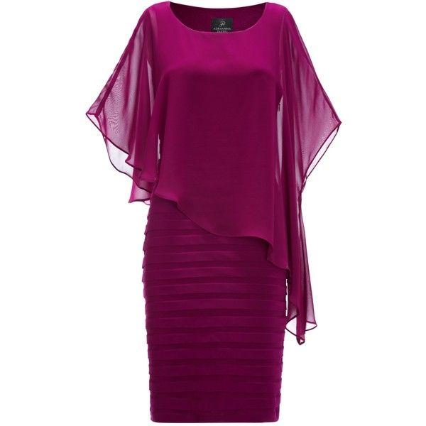 Adrianna Papell Chiffon Drape Dress, Crushed Berry (€90) found on Polyvore