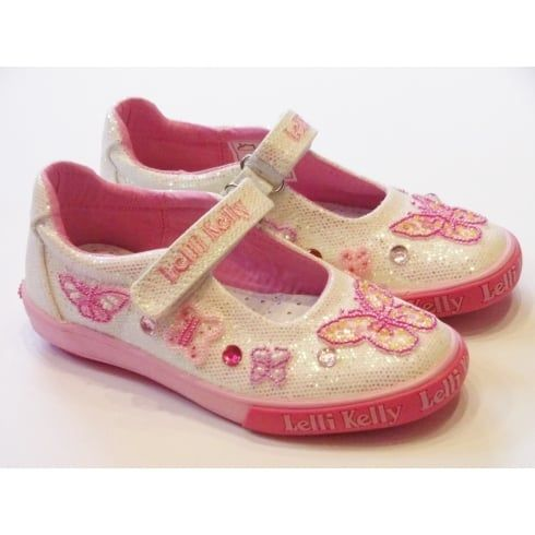Lelli Kelly Butterfly LK9180 Girls White Glitter Canvas Shoes