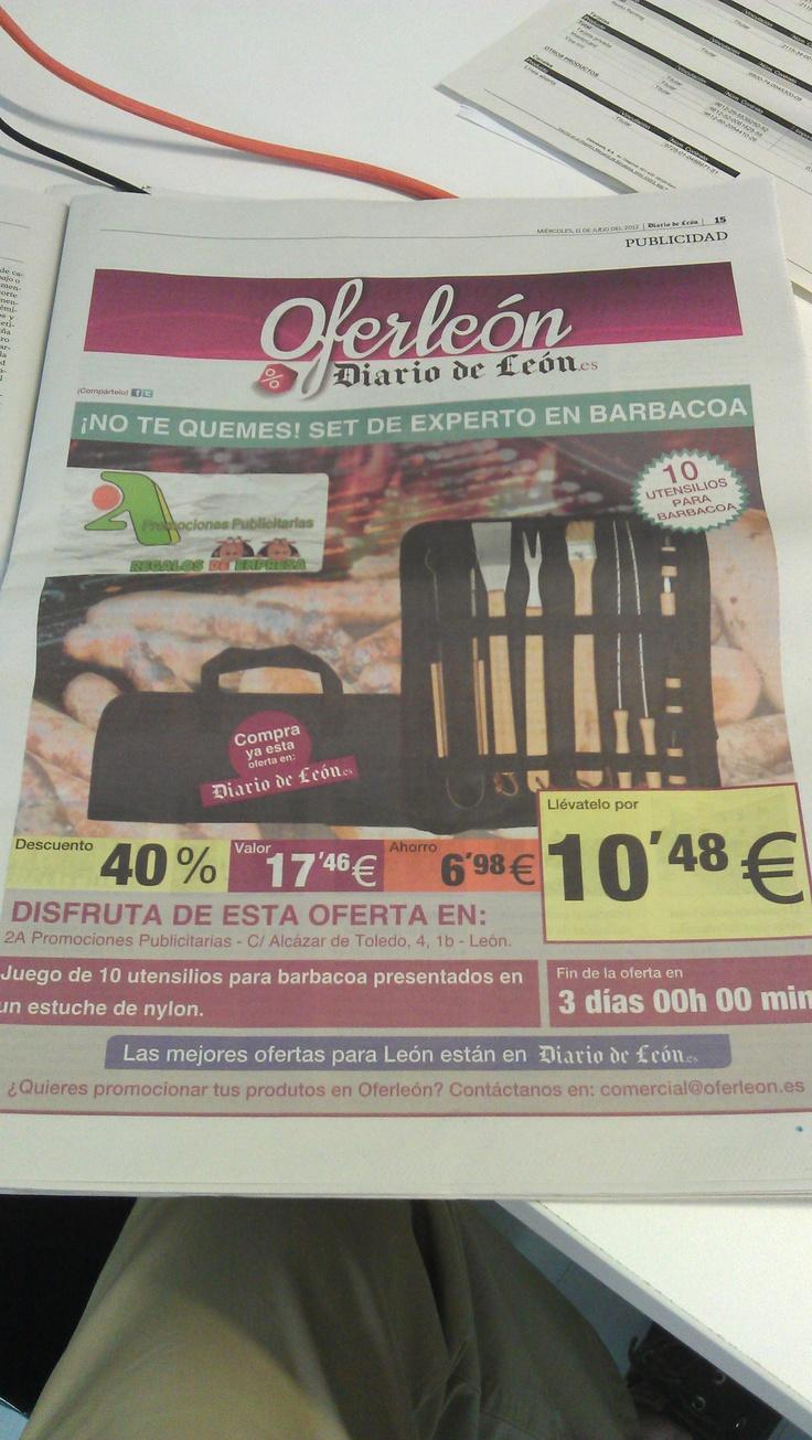 Presencia de 2A en el Diario de León a través de una promoción de un Set de Barbacoa.