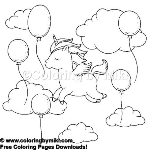Unicorn Flying In The Sky With Balloons Coloring Page
