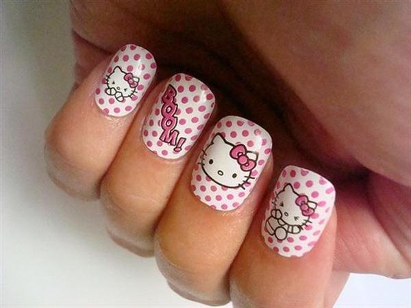 Uñas de Hello Kitty - Hello Kitty nails