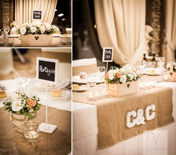 C&C wedding. Flower decorations for the tables, with white and pink rosse, peonies and floating candles. Little chalkboards as placeholders!